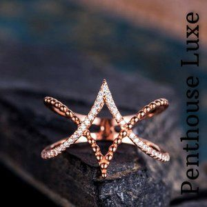 NEW!! 14K Rose Gold Diamond Sterling Silver Ring
